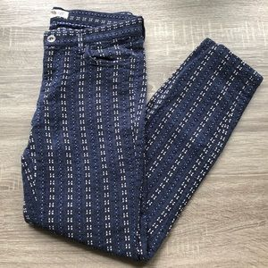 Madewell Embroidered Blue Pant, Sz 6